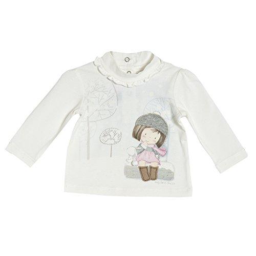 Chicco Baby Mädchen Langarmshirt creme mit Aufdruck und Rüschchen am Hals (80)