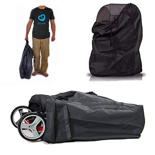 Liltourist Bolsa de transporte para cochecito, bolsa de viaje con correa, bolsa de comprobación Gate negro Negro