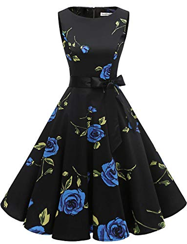 Gardenwed Damen 1950er Vintage Cocktailkleid Rockabilly Retro Schwingen Kleid Faltenrock Blue Rose XL (Marines Blues Kleid Kostüm)