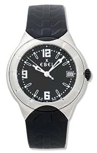 Ebel - E Type - 9187C41-56C35606 - Montre Homme - Acier - Quartz Analogique - Cadran Noir - Dateur - Bracelet Caoutchouc Noir