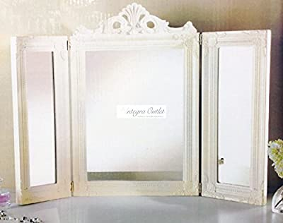 Vintage Cream Dressing Table Mirror - 3 Section Mirror