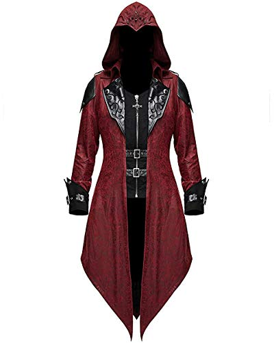 Rot Assassins Schwarz Und Kostüm Creed - Devil Fashion Damen Gotik Jacke Mantel mit Kapuze Rot Dieselpunk Assassins Creed - Rot & Schwarz, S - UK Womens Size 8