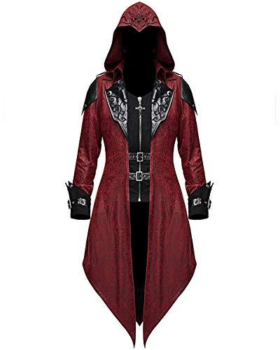 Devil Fashion Damen Gotik Jacke Mantel mit Kapuze Rot Dieselpunk Assassins Creed - Rot & Schwarz, S - UK Womens Size 8