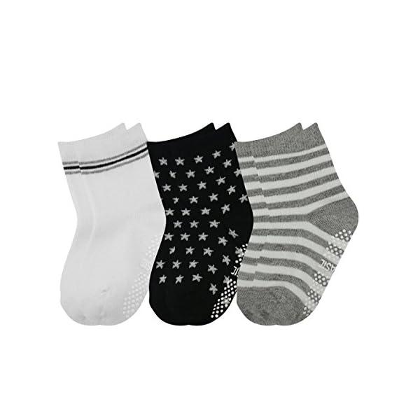 GOPOWD 6 pares de Calcetines Antideslizantes para Bebé Oscuro Color Aleatorio para 1-36 Meses Niños 2