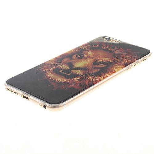 Ooboom® iPhone 5SE Hülle TPU Silikon Gel Ultra Dünn Schutzhülle Handy Tasche Case Cover für iPhone 5SE - Löwe Schwarz Löwe Flamme