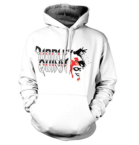 Officially Licensed Merchandise Harley Quinn Hoodie (White), Large