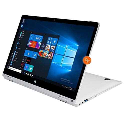 PC Ordinateur Portable Convertible Tactile 13,3 Pouces - Winnovo VokBook 4 Go de RAM 32 Go 128 Go SSD Windows 10 Intel Celeron N3350 WiFi HDMI (Argent)