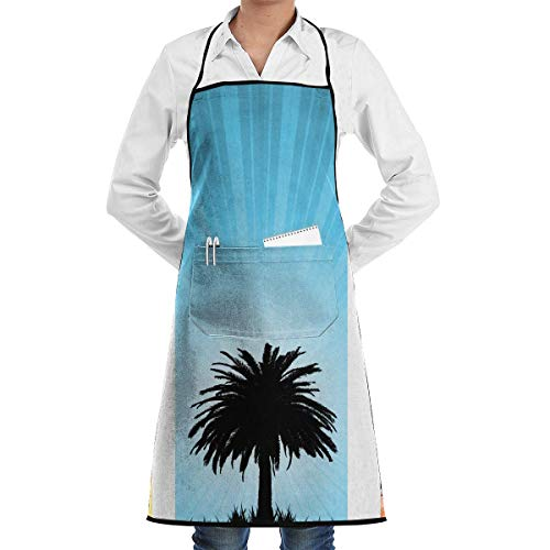 Kitchen Apron Summer Backgrounds Aprons Bib for Mens Womens Halloween String Adjustable Adult Kitchen Waiter Aprons with Pockets (Phone Backgrounds Halloween)
