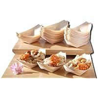 Barcos de madera de bambú x100 para los alimentos del partido, bocados, picar, canape aproximadamente 105X70m m - compruebe por favor el tamaño antes de ordenar