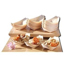 Barche di legno di bambù x100 per cibi di partito, spuntini, nibbles, canapa circa 115X75 mm – Controlli prego il…