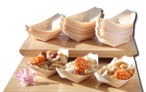 Barcos de madera de bambú x100 para los alimentos del partido, bocados,...