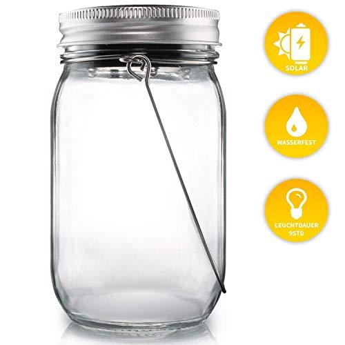 TESTSIEGER: SEHR GUT: Lacari ® Original Solarglas - Auch Als Gartenleuchte oder Hängeleuchte - Wasserdichte Solarlampe - Hochwertige Solarleuchte Im Einmachglas - Gemütliches Sonnenlicht