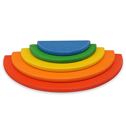 Little Star Toys - 5 Piece Rainbow Wooden Semicircles - For use with 6 piece Stacking Rainbow (19cm)