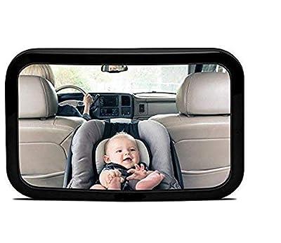 Espejo Retrovisor Coche para Vigilar al Bebé en el Coche, 360° Ajustable Irrompible Interior Espejo Coche Bebé, para Los Asientos de Niños Orientados Hacia Atrás
