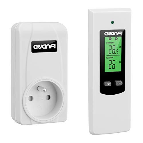 AWANFI Prise Thermostat d'Ambiance Sans Fil avec Télécommande pour Radiateur Electrique et Climatiseur Mobile