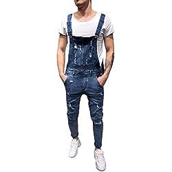 Vaqueros Hombre Rotos Pantalón Chandal Hombre Mezclilla Mono 2019 Nueva Jumpsuit Pantalones con Agujeros Suelto para Hombre Roto Talla Grande con Peto Tirante con Botones y Bolsillos Holatee