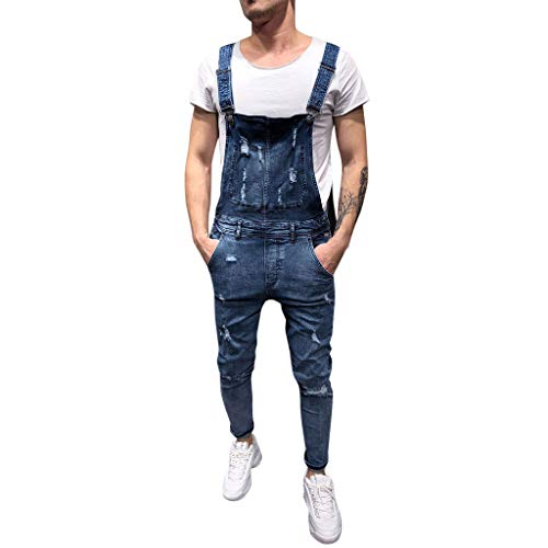 Herren Loch Denim Jeans Jumpsuit Yogogo Sommer Straps Pants mit Tasche Ärmellos Schlinge Overall Hose Rückenfrei Playsuits Lange Strampler Bodysuit Lose Sport Fitness Workout Slim Leggins Sporthose -