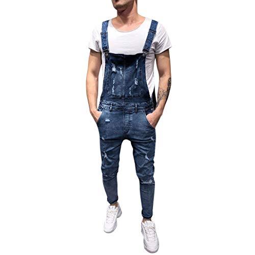 LuckyGirls Vaqueros Hombre Rotos Pantalones Denim Jeans Moda Pantalón Petos Mono (Azul,M/EU:74)