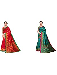 Anni Designer Women's Art Silk Red & Green Saree With Blouse + Anni Designer Women's Art Silk Green Saree With Blouse