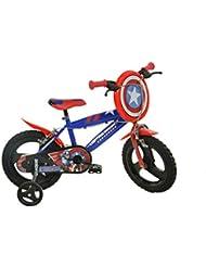 Dino Bikes- Marvel Heroes Vélo Garçon sous Licence Captain America 14 Pouces-4 à 6 Ans, 414 UL-CA