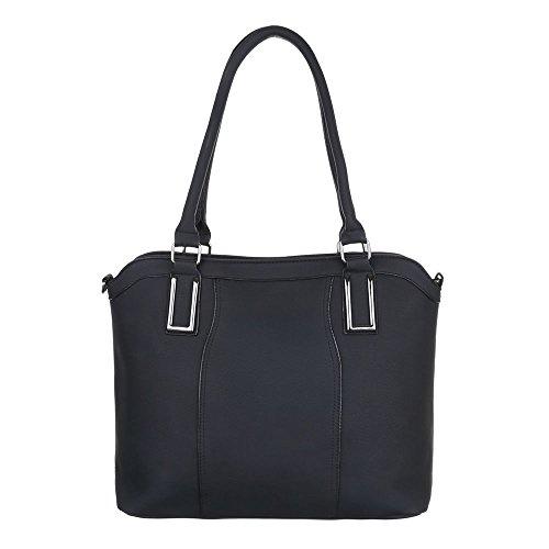 Kunstleder Damen Tragetasche Mittelgroße TA Tasche Schwarz Schultertasche Handtasche C512 z1q1FaRwv