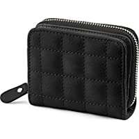 Syga PU Leather Zipper Wallet for Women, Black - Checked Pattern