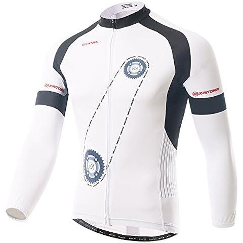 dushow da uomo bianco e verde autunno inverno pile Ciclismo Maniche lunghe–/bici Abbigliamento Suit, uomo, White Jersey, XXXXL=190-195cm,95-102kg