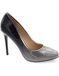 ebd509e67bda4 Fashion Shoes - Escarpin Femme Bout Ronde - Chaussures Dégradées Vernis  Métalisées - Haut Talon Aiguille