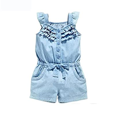 Girl's Denim jumpsuit,for 1Y-5Y,OSYARD Baby Girl Clothes Rompers Washed Jeans Sleeveless Bow Dresses : everything £5 (or less!)
