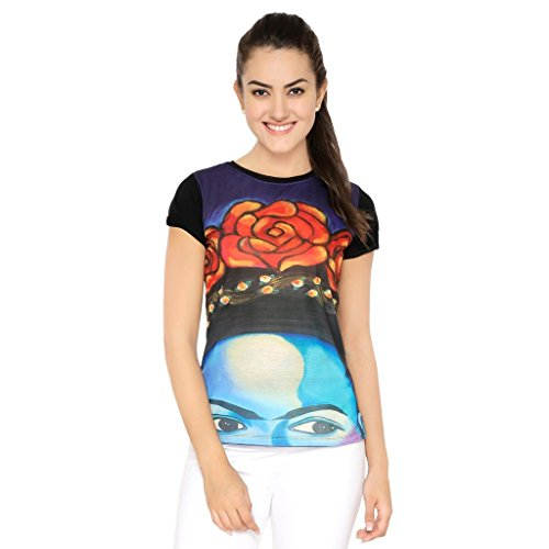 Muse The Flower on Head Multi Color T-Shirt   Tee for Women - XS
