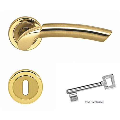 Preisvergleich Produktbild Türdrückergarnitur ROMIKA mit BB Schlüsselrosetten,  Messing poliert mit PVD Öberfläche-Schutz,  Türbeschlag