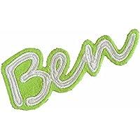 Aufnäher Name in Schreibschrift weiß auf grün - Ihr Wunschname - Patch