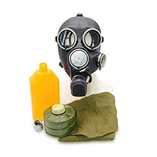OldShop Gas Mask REPLICA Gp-7V Russian USSR Military Rubber With All Equipment: Mask, Bag & Filter and Flask, Color: Black | Size: S (1Y)