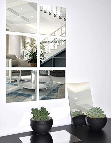 8 Stück Spiegelfliesen selbstklebend: Spiegel zum kleben Set 15x15 cm &15x23 cm groß Klebespiegel Spiegelblätter
