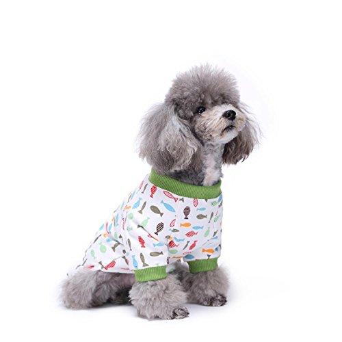 Pyjamas mit Lovely Kirschmuster und Four Feet Design, Weich Alle Jahreszeiten Haustier Schlafanzug Jacken für Kleine und Mittelgroße LNAG , (Ideen Tag Kostüme Charakter)