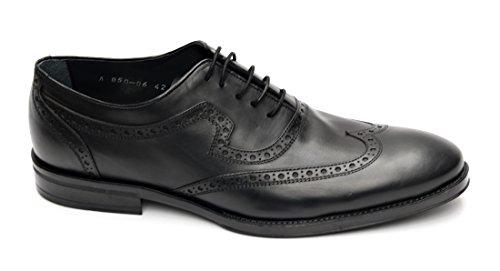 Muga Hommes chaussures à lacets Budapest-850- Noir