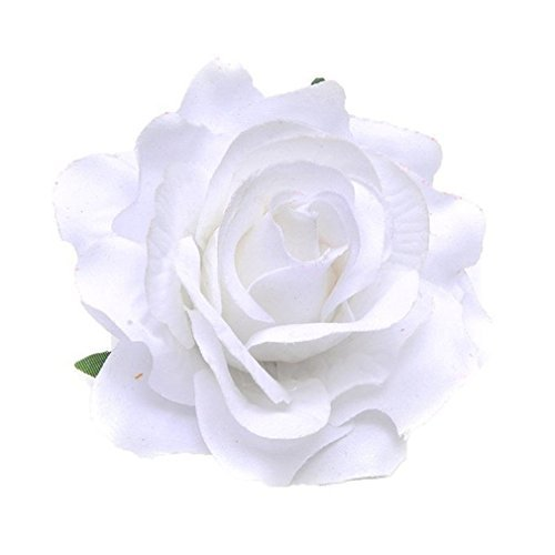 BeautyLifeⓇ Elegante Damen Accessoires Haarblumen Haarblüte Haarspange Haarschmuck Rose Broschen Ansteckblume viele Farben (Weiß)