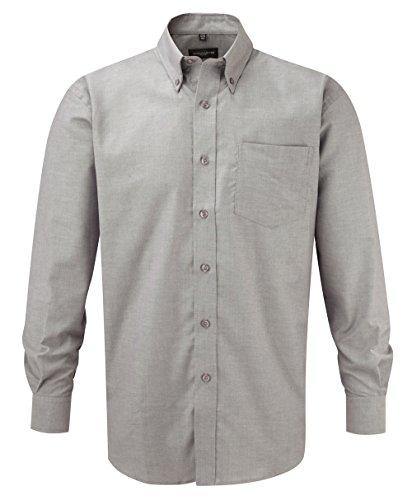 Russell Collection! Pflegeleichtes Langarm Oxford Hemd auch in Übergrößen 4XL / 49/50 / 19.5,Silver