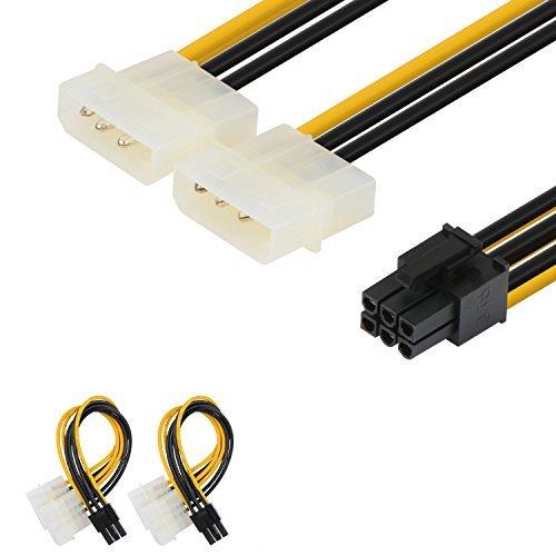 2er-Pack Netzkabeladapter von J&D, 6-polige PCI-E-Stromverbindung auf 2x 4-polige Molex-LP4-Stromverbindung, 6Zoll / 15cm, schwarz 2er-Set - Pcie-amp