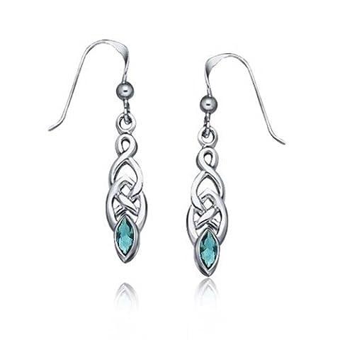 Dyed Blue Topaz Celtic Knotwork Dangle Earrings 925