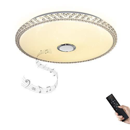 Dimmbare Deckenleuchte mit Fernbedienung und Bluetooth Lautsprecher 36W Ø 50CM Kristall Lampenschirm(Nachahmung,aus Acryl) für Wohnzimmer, Schlafzimmer, Küche und Esszimmer JDONG -