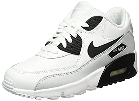 Nike Unisex Kids' Air Max 90 Leather (Gs) Shoe Low-Top Sneakers, Multicolored (104 WHITE/BLACK-PURE PLATINUM-WHITE), 40 UK