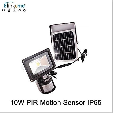 Elinkume 10W Solaire Projecteur LED White Emergency Lighting Solaire Rechargeables LED Projecteur 6500LM Détective de Mouvement Lumière LED Input DC 12V Travailler Sous -20℃—45℃
