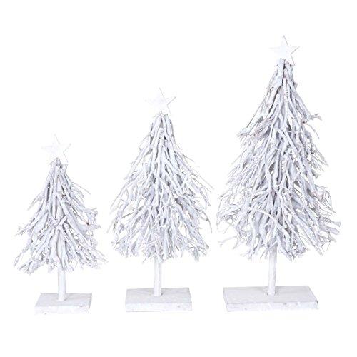 (Mendler 3er Set Dekobäume, S+M+L Weihnachtsbaum Christbaum Dekotanne 60/28/12cm weiß-grau)