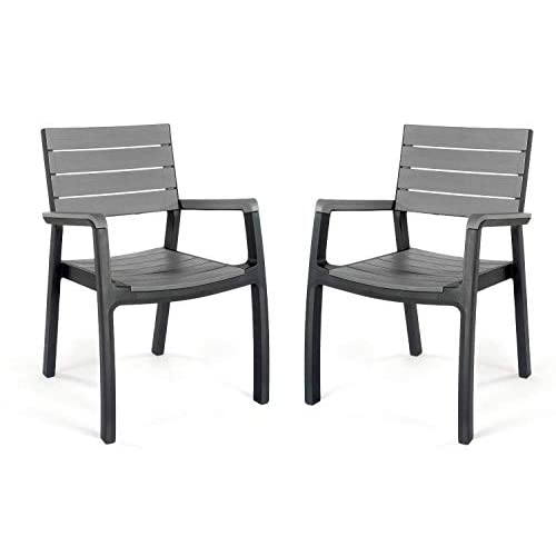 41EvzBOLeVL. SS500  - Keter Harmony Outdoor Patio Garden Furniture Armchair Set - Graphite