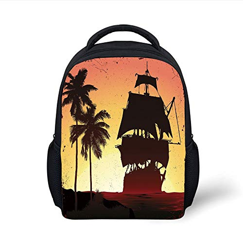 Kids School Backpack Pirate,Buccaneers Ship Sailing on Mysterious Waters Tropic Palm Trees Grunge Mist,Yellow Black Coral Plain Bookbag Travel Daypack Coral Mist