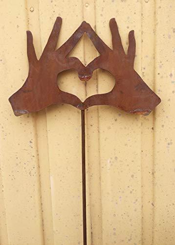 Hände bilden Herz Hand Hands IN Love 27x19cm + Stab Gartenstecker Rost rostige Gartendekoration + Original Pflegeanleitung von Steinfigurenwelt