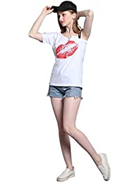 SODIAL(R) Summer Sexy Women Printing Red Lips Off Shoulder Short Sleeve T-shirt Spaghetti Strap Oblique Fashion Lady Tops Cold Shoulder Shirt(BLACK,S/US~4/UK~8)