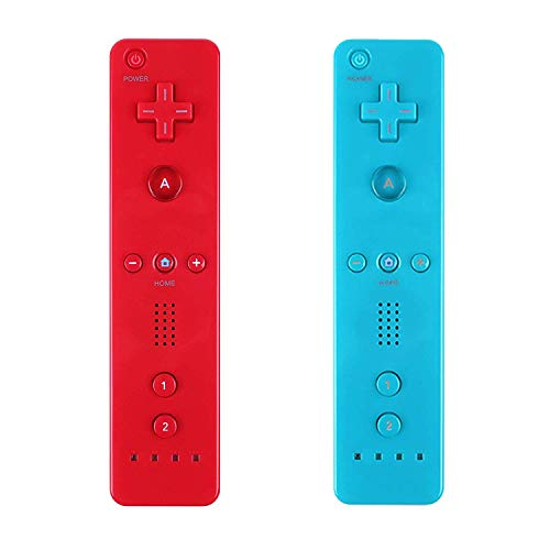 Yosikr Fernbedienung, kabellos, kompatibel mit Nintendo Wii/Wii U Konsole, mit Silikonhülle und Handgelenkschlaufe 2 Pack Red and Blue