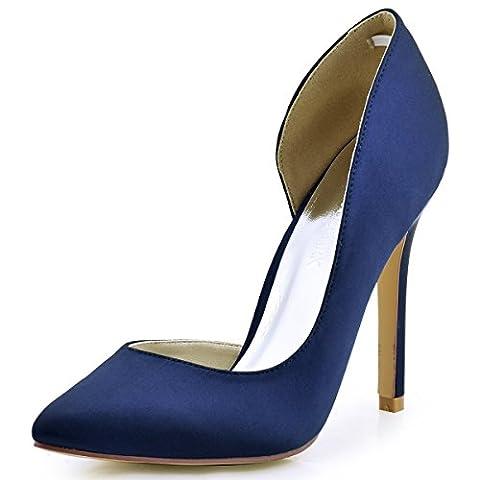 ElegantPark HC1601 Women Pointed Toe High Heel D'Orsay Satin Pumps Wedding Evening Party Court Shoes Navy Blue UK